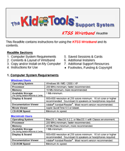 Screenshot of KidTools Support System Wristband Readme